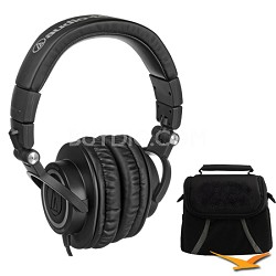 ATH-M50 Professional Studio Monitor Headphones with Coiled Cable Deluxe Bundle