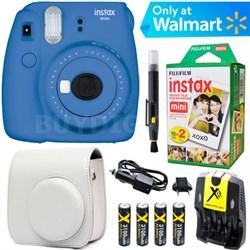 Instax Mini 9 Instant Camera  (Cobalt Blue) + White Case + 20 pk Film Kit