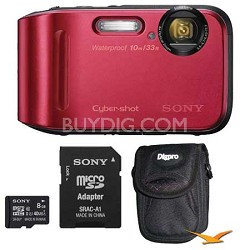 DSC-TF1 16 MP Water, Freeze, and Shockproof Digital Camera Red Kit