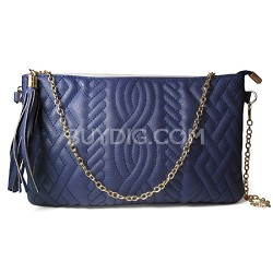Quilted PU Crossbody with Tassel (Navy Blue) - 3041NVY