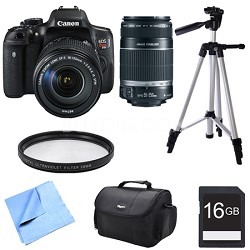 EOS Rebel T6i Digital SLR Camera w/ 18-135mm and 55-250mm Telephoto Lens Bundle