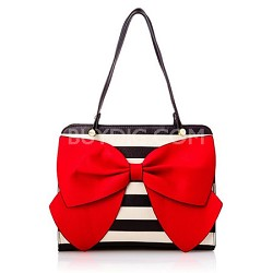Bow Regard Large Black/White Stripe Satchel with Fancy Red Bow