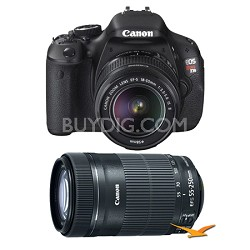 EOS Rebel T3i 18mp DSLR Camera w/ 18-55mm and EF-S 55-250mm IS STM Lens Bundle