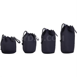 "Neoprene Lens Pouch 4-Pack includes 4.5"" + 6"" + 8"" + 10"" Pouches w/ Hook"