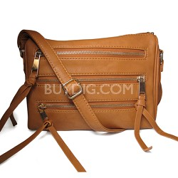3 Zipper Detail PU Messnger Bag with Chain Strap (Beige) - 3004BEG
