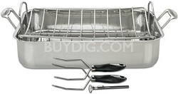 Chef's Classic Stainless 16-Inch Roaster with Rack and 3 Piece Roasting Set