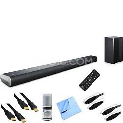320W 2.1ch Bluetooth Sound Bar & Wireless Subwoofer Plus Hook-Up Bundle LAS551H