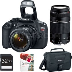 EOS Rebel T5 18MP DSLR w/ 18-55 II & 75-300 III IS Lenses Bundle Deal
