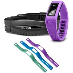 vivofit Fitness Band Purple Bundle w/ Heart Rate Monitor Large Wristband Bundle