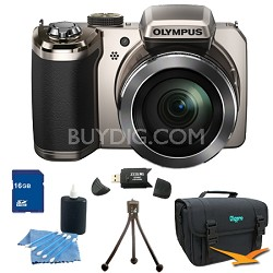 SP-820UZ 14 Megapixel 40x Zoom Digital Camera Silver 16GB Bundle