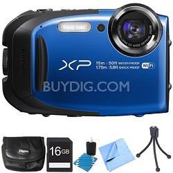 FinePix XP80 16MP Waterproof Digital Camera Blue 16GB Bundle