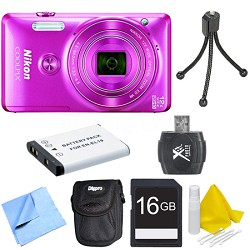 COOLPIX S6900 16MP Full HD 1080p Digital Camera - Pink Deluxe Bundle