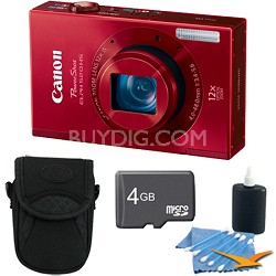 PowerShot ELPH 520 HS Red 10.1 MP CMOS Digital Camera 12x Zoom 4 GB Bundle