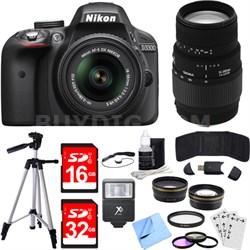 D3300 DSLR 24.2 MP HD 1080p Camera w/ 18-55mm + 70-300mm Lens Black Bundle