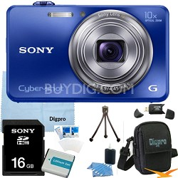 Cyber-shot DSC-WX150 18.2 MP 10x Optical HD Video Camera (Blue) 16GB Bundle