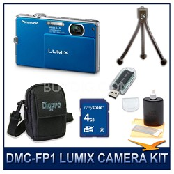 DMC-FP1A LUMIX 12.1 MP Digital Camera (Blue), 4G SD Card, Card Reader & Case