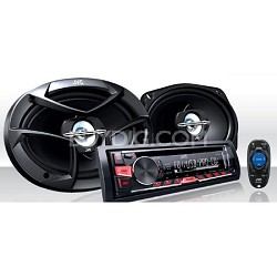 """KD-PKR4690 Single DIN In-Dash CD/AM/FM Receiver and 6x9"""" 3-Way Speakers Package"""