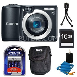 PowerShot A1400 Black 16MP Digital Camera 16GB Bundle