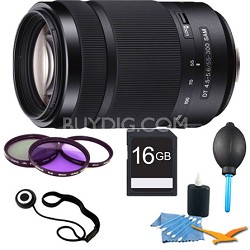55-300mm DT f/4.5-5.6 SAM Telephoto Zoom A-Mount Lens + Accessories, 16GB Kit