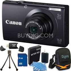 PowerShot A3400 IS 16MP Black Digital Camera 8GB Bundle