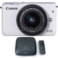 EOS M10 Mirrorless Camera w/ EF-M 15-45mm IS STM Lens + 1TB CS100 Hub - White