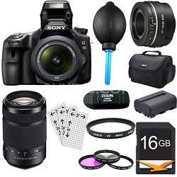 SLTA65VL - a65 Digital SLR Camera Plus 18-55mm, 55-300mm & 50mm f1.8 Lens Bundle