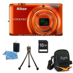 COOLPIX S6500 16 MP Digital Camera with 12x Zoom 16 GB Bundle (Orange)