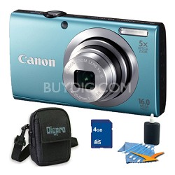 PowerShot A2400 IS 16MP Blue Digital Camera 4GB Bundle