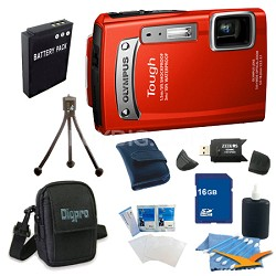 16GB Kit Tough TG-320 14MP Waterproof Shockproof Freezeproof Digital Camera -Red