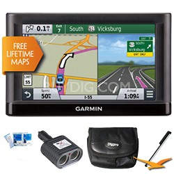 "Nuvi 65LM Essential Series GPS Nav w/ Lifetime Maps 6"" Display Essentials Bundle"