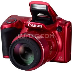 Powershot SX410 IS 20MP 40x Optical Zoom 720p HD Red Digital Camera