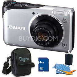 PowerShot A2200 14MP Silver Digital Camera 4GB Bundle