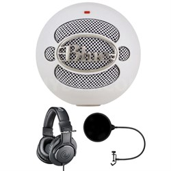Snowball USB Microphone Textured White w/ Headphone Bundle
