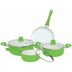7-Piece Ceramic Cookware Set - Green
