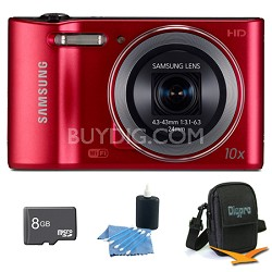 WB30F 16.2 MP 10x optical zoom Digital Camera Red 8GB Kit