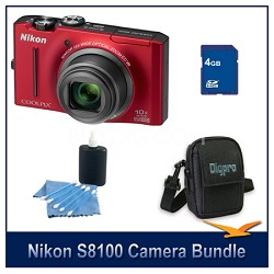 COOLPIX S8100 Red Digital Camera 4GB Bundle w/ Case and Cleaning Kit
