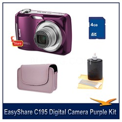 EasyShare C195 Digital Camera Purple 4GB Bundle w/ Case & More