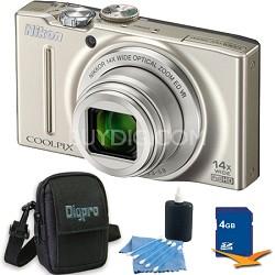 COOLPIX S8200 Silver 14x Zoom 16MP Digital Camera 4GB Bundle