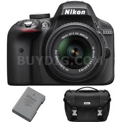 D3300 DSLR 24.2 MP HD 1080p Camera Bundle w/ 18-55mm Lens + Extra Battery + Case