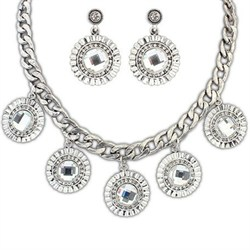 Sterling Silver with Rhinestones Necklace and Earrings Set