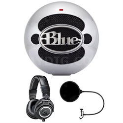 Snowball USB Microphone Aluminum - SNOWBALLALUMINUM w/ Headphone Bundle