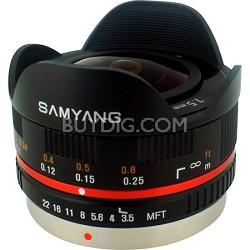 7.5mm F3.5 UMC Ultra Wide-Angle Fisheye CS Lens for Micro 4/3 - Black