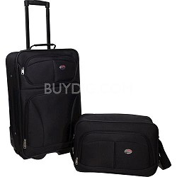 "Fieldbrook 2 Piece Luggage Set with 21"" Upright and 15"" Boarding bag (Black)"