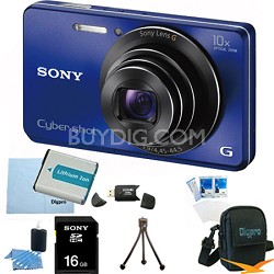 Cyber-shot DSC-W690 16MP 10X Zoom 720p Video Digital Camera (Blue) 16GB Bundle