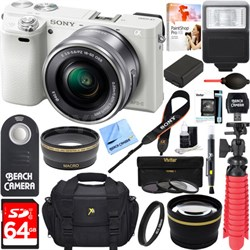 Alpha a6000 24.3MP White Mirrorless Camera 16-50mm Zoom Lens 64GB Accessory Kit