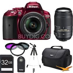 D5300 DX-Format Digital SLR Kit (Red) w 18-55mm & 55-300mm VR Lens 32GB Bundle