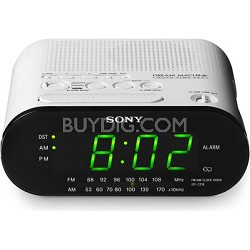 ICF-C218 White Automatic Time Set AM/FM Clock Radio