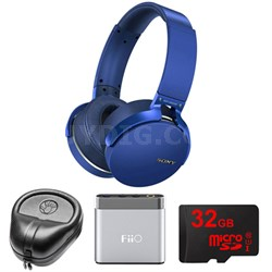 Extra Bass Bluetooth Headphones - Blue - MDRXB950BT/L w/ FiiO A1 Amp. Bundle