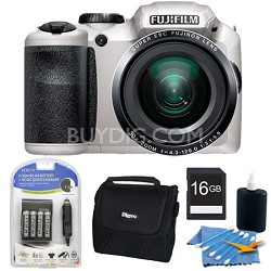 FinePix S6800 16 MP 30x Wide Angle Zoom Digital Camera White 16GB Kit