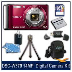 Cyber-shot DSC-W370 14MP Red Digital Camera   with 16GB Card, Case, and More